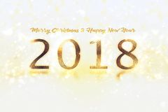 Happy New Year Banner with 2018 Numbers on Bright Background. Royalty Free Stock Image