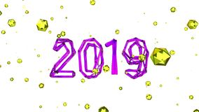 Happy New Year Banner with 2019 Numbers made by pink glossy wire glass shell isolated on white Background with flying. Yellow faceted spheres. abstract 3d royalty free illustration