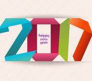 Happy new year 2017 banner, origami illustration. Calendar cover design Royalty Free Stock Photos