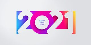 Happy New Year 2021 banner in paper cut style for seasonal holidays flyers, greetings and invitations, christmas themed congratula