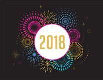 Happy New Year, banner, poster with fireworks Stock Image