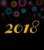 Happy New Year, banner, poster with fireworks Stock Images