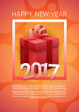Happy New Year Banner Present Box Merry Christmas Greeting Card With Copy Space. Flat Vector Illustration stock illustration