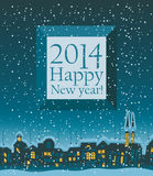 2014 Happy New Year. Banner that read 2014 Happy New Year on the background of night city Stock Photo