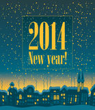 Happy New Year. Banner that read 2014 Happy New Year on the background of night city stock illustration