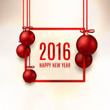 Happy new year 2016 banner with red balls. Elegant vector illustration with a congratulation Royalty Free Stock Photo