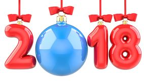 Happy New Year 2018 banner with red ribbon and bow. Text 2018 made in the form of a blue and red Christmas ball. 3D Stock Photo