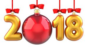 Happy New Year 2018 banner with red ribbon and bow. Text 2018 made in the form of a golden and red Christmas ball. 3D. Illustration of traditional festive Xmas Stock Photo