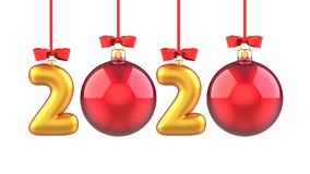 Happy New Year 2020 banner with red ribbon and bow. Text 2020 made in the form of a golden and red Christmas ball. 3D