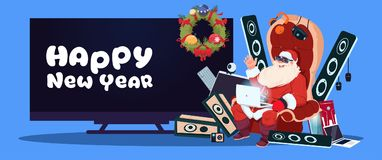 Happy New Year Banner With Santa Claus Sitting With Modern Electronics Gadgets. And Plasma Tv On Background Vector Illustration stock illustration