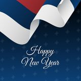 Happy New Year banner. Serbia waving flag. Snowflakes background.   Royalty Free Stock Images