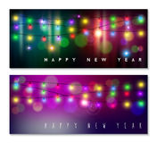 Happy new year banner set light bokeh blur holiday. Happy new year banner set designs with festive holiday lights decoration and colorful bokeh blur elements in Royalty Free Stock Photo
