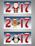 Happy New Year banner set with Santa Claus, penguin and rooster. 2017 Happy New Year banner set with Santa Claus, penguin and rooster. Vector illustration Royalty Free Stock Photos