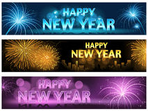 Happy New Year Banner Set Stock Photos