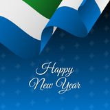 Happy New Year banner. Sierra Leone waving flag. Snowflakes background.. Vector Stock Photography