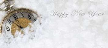 Happy New Year banner size image with a pocket watch royalty free stock image
