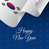 Happy New Year banner. South Korea waving flag. Snowflakes background.. Happy New Year banner. South Korea waving flag. Snowflakes background. Vector Royalty Free Stock Photo