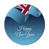 Happy New Year banner or sticker. Fiji waving flag. Snowflakes background. Vector illustration. Happy New Year banner or sticker. Fiji waving flag. Snowflakes Royalty Free Stock Photo