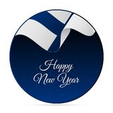Happy New Year banner or sticker. Finland waving flag. Snowflakes background. Vector illustration. Happy New Year banner or sticker. Finland waving flag Stock Photos
