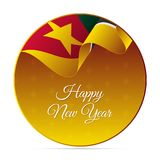 Happy New Year banner or sticker. Mozambique waving flag. Snowflakes background. Vector illustration. Happy New Year banner or sticker. Mozambique waving flag Stock Image