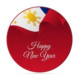 Happy New Year banner or sticker. Philippines waving flag. Snowflakes background. Vector illustration. royalty free illustration