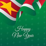 Happy New Year banner. Suriname waving flag. Snowflakes background.. Vector Stock Photos