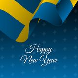 Happy New Year banner. Sweden waving flag. Snowflakes background.. Vector Stock Photos