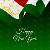 Happy New Year banner. Tajikistan waving flag. Snowflakes background.. Vector Royalty Free Stock Photography