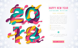 2018 Happy New Year banner template. With abstract paper cut shapes. Vector illustration. Colorful 3D carving art for flyers, posters, brochure or voucher Stock Photo