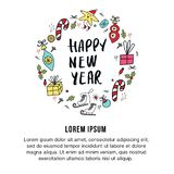 Happy New Year banner template. Circular ornament with christmas decorations and hand drawn lettering. Vector illustration vector illustration