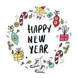 Happy New Year banner template. Circular ornament with christmas decorations and hand drawn lettering. Vector illustration stock illustration