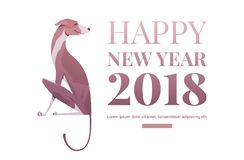 Happy new year banner template. Dog symbol of the year 2018 Stock Photo