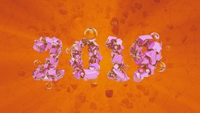 Happy New Year Banner with 2019 trendy pink color and gold Numbers made by shattered cracked stone isolate on orange. Background with flying glass spheres royalty free illustration