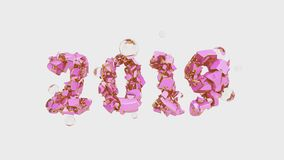 Happy New Year Banner with 2019 trendy pink color and gold Numbers made by shattered cracked stone isolate on white. Background with flying glass spheres royalty free illustration