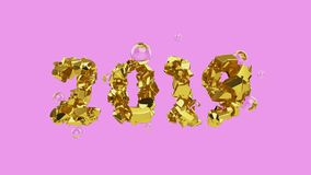 Happy New Year Banner with 2019 trendy pink color Numbers made by shattered cracked gold with flying glass or water. Spheres on bright background. abstract 3d vector illustration