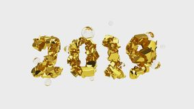Happy New Year Banner with 2019 trendy pink color Numbers made by shattered cracked gold with flying glass or water. Spheres isolate on white background stock illustration