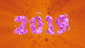 Happy New Year Banner with 2019 trendy pink color Numbers made by shattered cracked stone on orange Background. With flying glass spheres. abstract 3d royalty free illustration