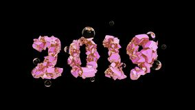 Happy New Year Banner with 2019 trendy pink color Numbers made by shattered cracked stone isolated on rose Background. With flying glass spheres. abstract 3d vector illustration