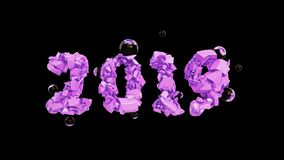 Happy New Year Banner with 2019 trendy pink color Numbers made by shattered cracked stone isolated on rose Background. With flying glass spheres. abstract 3d stock illustration