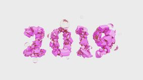 Happy New Year Banner with 2019 trendy pink color Numbers made by shattered cracked stone isolated on white Background. With flying glass spheres. abstract 3d vector illustration