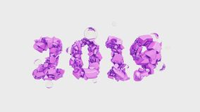 Happy New Year Banner with 2019 trendy pink color Numbers made by shattered cracked stone isolated on white Background. With flying glass spheres. abstract 3d stock illustration