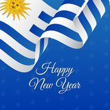 Happy New Year banner. Uruguay waving flag. Snowflakes background.. Vector Royalty Free Stock Photography