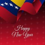 Happy New Year banner. Venezuela waving flag. Snowflakes background.. Happy New Year banner. Venezuela waving flag. Snowflakes background. Vector Royalty Free Stock Photography