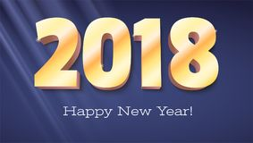 Happy New Year banner. Volumetric numbers 2018 from gold. Congratulation poster with rays of light on background Stock Images