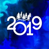 Happy New Year 2019 banner with christmas trees royalty free stock image