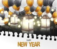 Happy New Year banner. Winter holiday celebration design concept with golden, black, and white balloons, garland lights, and lante