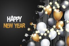 Happy New Year banner. Winter holiday celebration design concept with golden, black, and white balloons, garland lights, under tor