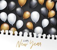 Happy New Year banner. Winter holiday design concept with golden and black balloons covered with torn out sheet of paper.