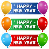 Happy New Year Banners with Balloons Stock Images