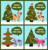 Happy New Year Banners with Dotted Puppy Tree Set. Happy New Year banners with dotted puppies under Christmas trees set of vector illustration greeting cards on Stock Image